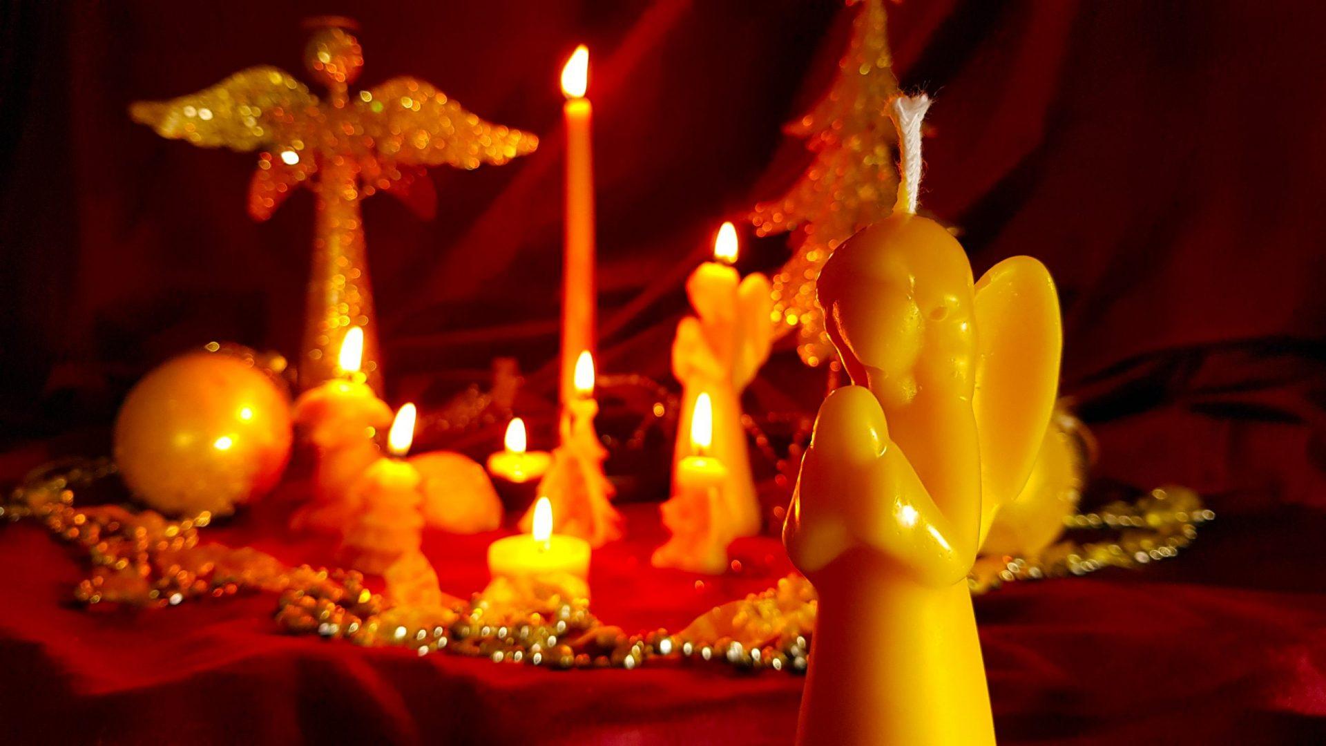 Bijenwas kerst kaars 'Engel'